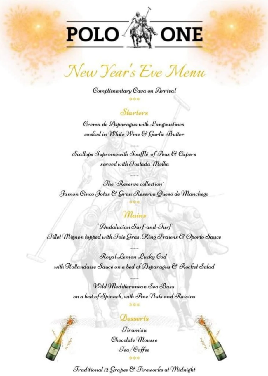 Polo One Restaurant New Year's Eve Menu
